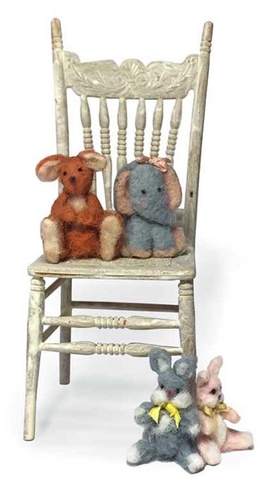 Dollhouse Miniature Wood Teddy Bear Calendar 1:12 Scale